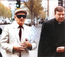 Confessed paedophile Gerard Ridsdale and his supporter George Pell go to court