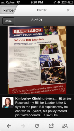 Kimberley Kitching - Bill Shorten Tweet 1