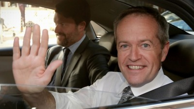 Bill Shorten with his chief of staff Cameron Milner May 2016