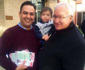 George Droutsas with Michael Danby and a stack of how-to-vote cards