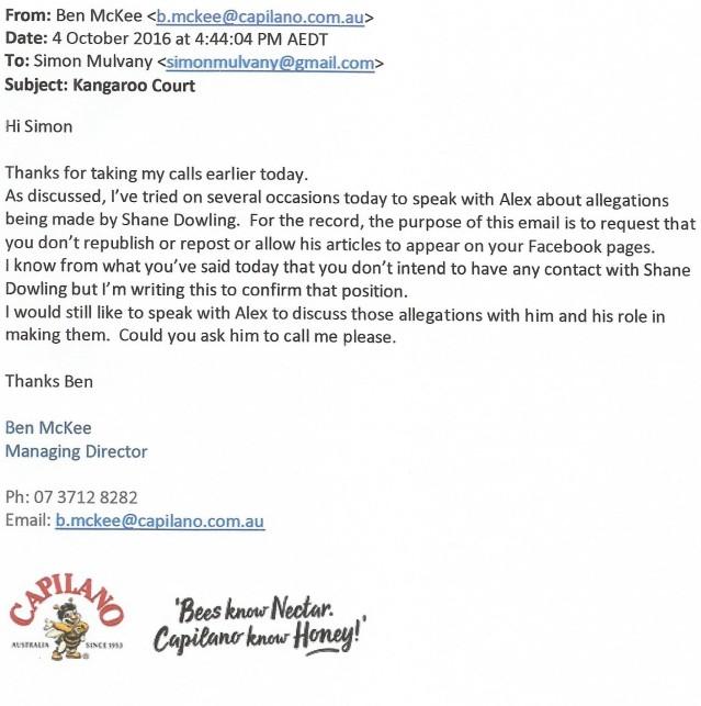 capilano-honey-ceo-ben-mckee-email-4-10-16
