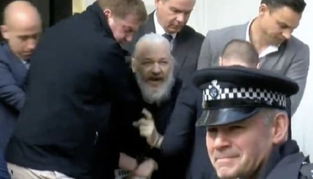 Julian Assange being arrested today